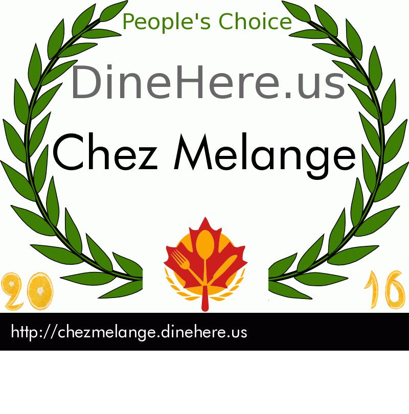 Chez Melange DineHere.us 2016 Award Winner
